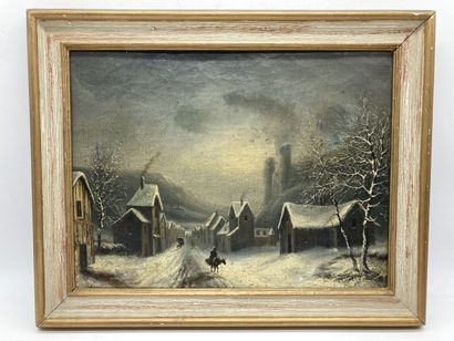 Ecole du XIXe siècle.  Village sous la neige....