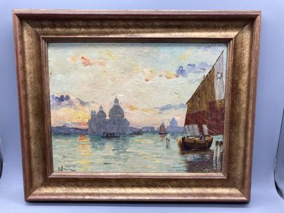 E. Brun, Venise, la Salute.  Huile sur panneau....