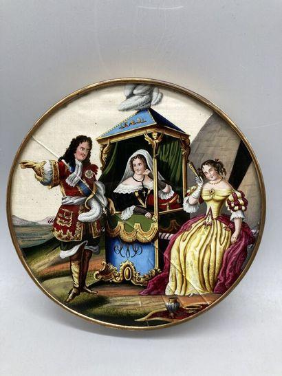 Boite à dragées circulaire à décor sous verre...