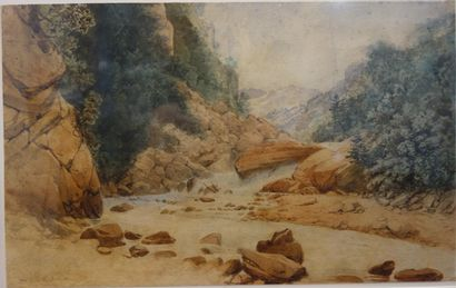 Alexandre Debelle (1805-1897)  Vue d'un torrent...