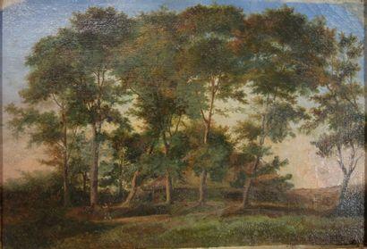 Ecole française du XIXe siècle.  Paysage...