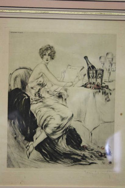 Louis Icart (1888-1950)  Banquet  Menu. Lithographie...