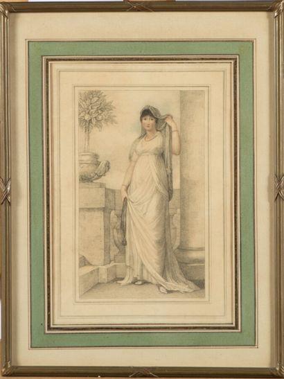 Ecole anglaise du XIXe s.  Femme romaine....