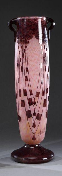 CHARDER & LE VERRE FRANCAIS  Vase oblong...