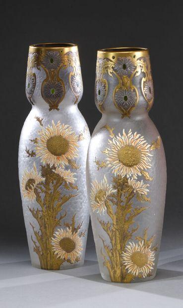 LEGRAS  Paire de vases tournesols à corps...