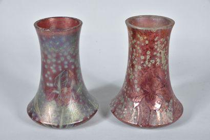 Delphin MASSIER (1836-1907)  Paire de vases...