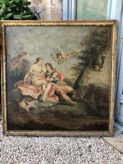 Apollon et Aphrodite.  Huile sur toile.  Fin...