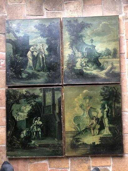 Suite de quatre huiles sur toile représentant...