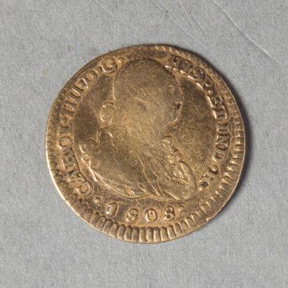 COLOMBIE  CHARLES IV. Un escudos 1808 popayan...