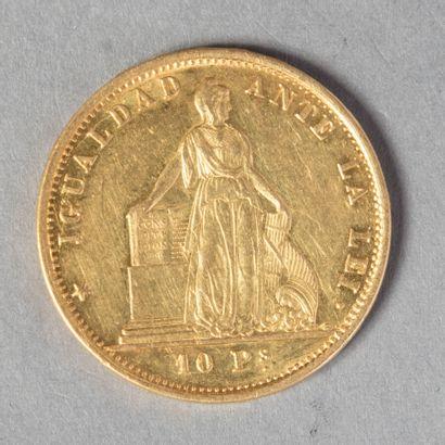 CHILI  10 PESOS 1864 26000 ex , assez rare...