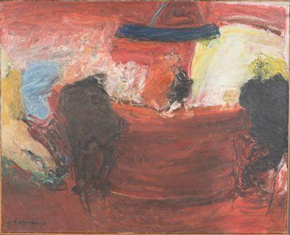 Géraude D'Espalungue (née en 1948).  Le fou du roi, 1981.  Huile sur toile.  Signé...