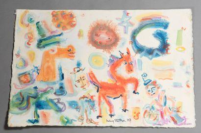 Irving STETTNER (né en 1922).  Le Cirque, 1987.  Aquarelle sur papier.  Signé et...