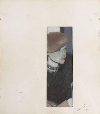 Gilles LAFLEUR (né en 1959).  La madone des sleepings, 1981.  Pastel sur papier....