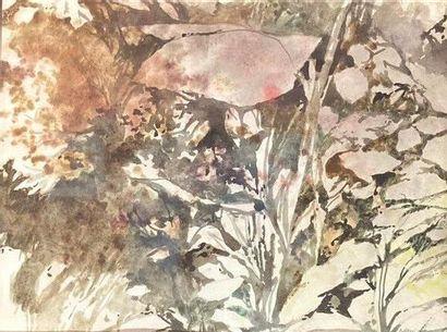 François CHAPRON (XXème-XXIème).  Sans titre, 1983.  Aquarelle sur papier  Signé...