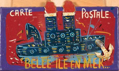 Guy POIRAT (né en 1952).  Belle-Île en mer.  Assemblage de métal peint découpé....