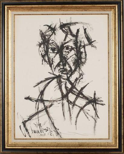David LAN-BAR (1912-1987).  Sans titre, 1952.  Encre sur papier.  Signé et daté...