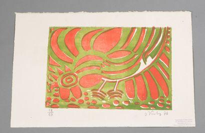 Joannès VEIMBERG (1918-1982).  Coq, 1976.  Lithographie en couleur sur papier.  Signé...