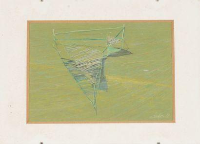 François CHAPRON (XXème-XXIème).  Ballet, 1988.  Pastel et craie blanche sur papier....