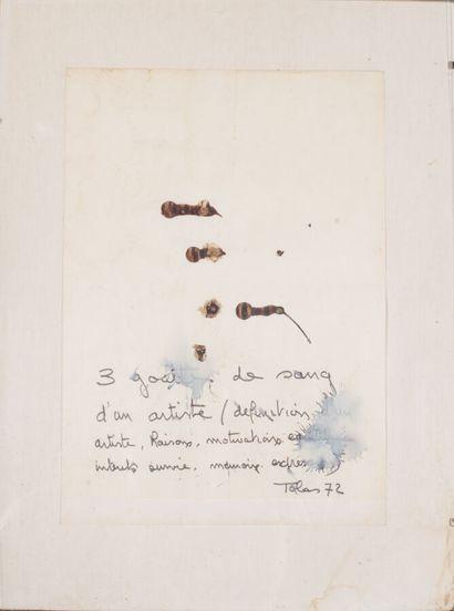 Christian TOBAS (né en 1944).  Trois gouttes de sang d'un artiste, 1972.  Sang (?)...