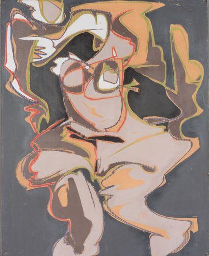 Philippe ARTIAS (1912-2002).  Sans titre,  Acrylique et pastel sec sur carton.  Signé...