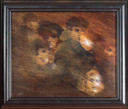 Henri TREFFEL (1946-1999).  Visages, 1988.  Huile sur toile.  Signé en bas à gauche....