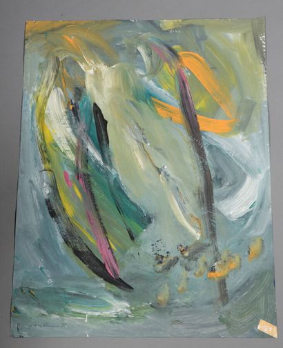 Géraude d'ESPALUNGUE (née en 1948).  Composition abstraite, 1988.  Huile sur papier....