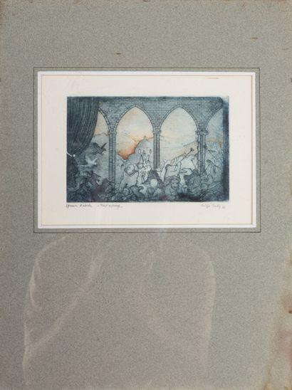 Philippe TARDY (né en 1960).  Trois Oiseaux, 1986.  Aquatinte sur papier.  Signé...