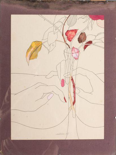 EDNA (née en 1944).  Main de femme et vase de fleurs, 1986.  Gouache et encre sur...