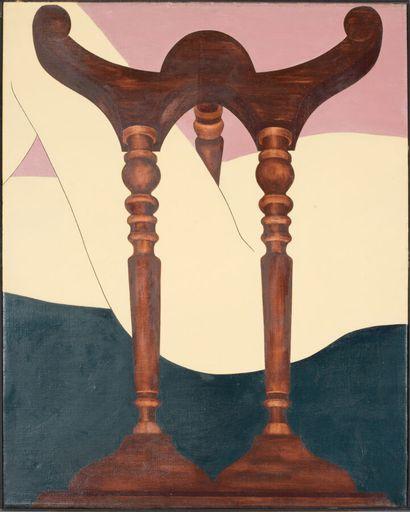 EDNA (née en 1944).  Nu aux pieds de table.  Huile sur toile.  Signé, daté au dos....