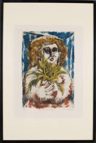 Jean REVOL (1929-2012).  Jeune fille aux tulipes, 1987.  Aquatinte sur papier.  Signé...