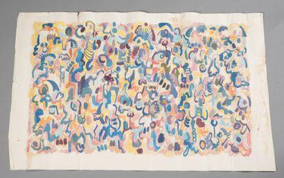 Alain DETTINGER (né en 1944).  Foule, 1969.  Huile sur papier.  Signé et daté en...