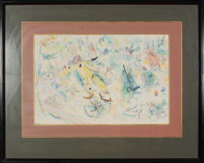 Irving STETTNER (né en 1922).  Sans titre, 1986.  Aquarelle sur papier.  Signé et...