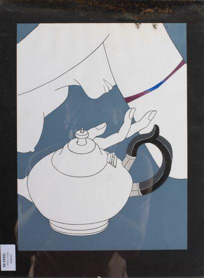 EDNA (née en 1944).  La femme à la théière, 1989.  Acrylique sur papier.  Signé,...