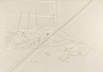 Ecole contemporaine.  Nu allongé, 1982.  Mine de plomb sur papier.  Signé et daté...