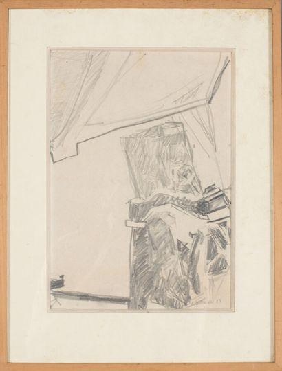 Alain Barrier (né en 1953).  Composition, 1983.  Fusain sur papier.  Signé et daté...