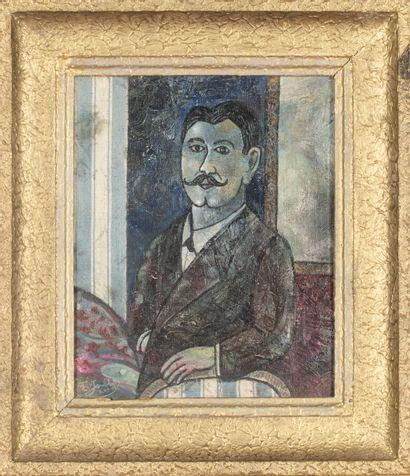 Félicien JOUBLOT (XIXème).  Autoportrait, 1893.  Huile et collage sur carton.  Signé...