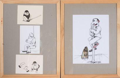 Pierre SOUCHAUD (né en 1938).  Un lot de deux oeuvres:    La folie des hommes....