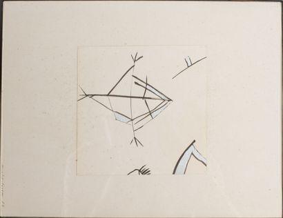 Martine CHANTEREAU (née en 1947).  Composition.  Encre de chine et peinture sur...