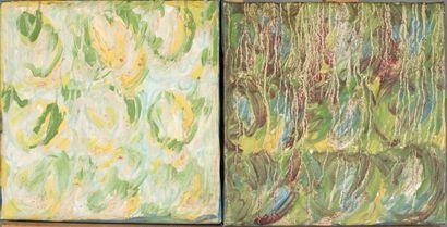 Véronique CÔTE (XX-XXIe siècle).  En pendant (deux châssis articulés):    Composition...