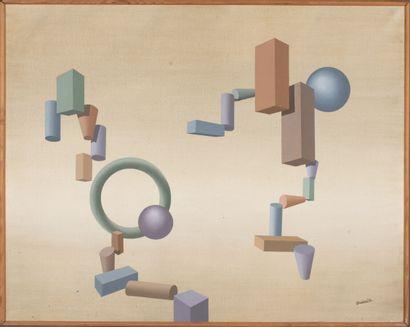 Fabien CHAVAND (XX-XXIe siècle).  Ballade Spatiale, 1979.  Huile sur toile.  Signé...