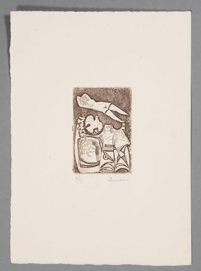 BURHAM (XXème).  Composition cubiste.  Eau-Forte sur papier.  Signé en bas à droite....
