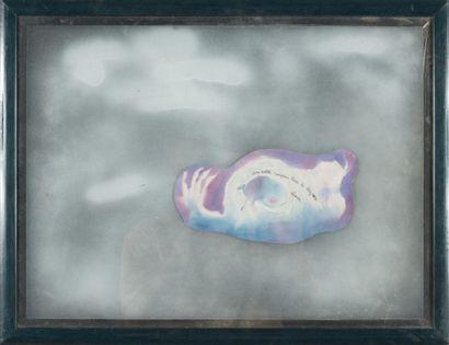 OLIVIER? ( XXème-XXIème).  Sans titre.  Peinture et collage de papier, cadre.  Dédicacé...