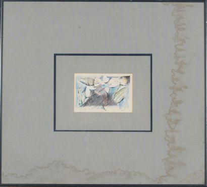 PILLOTTE-DÉCORET(XXème-XXIème).  Sans titre, 1988.  Crayons de couleurs avec rehaut...