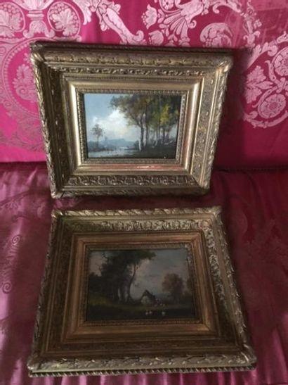 Une paire de Paysages, cadres dorés
