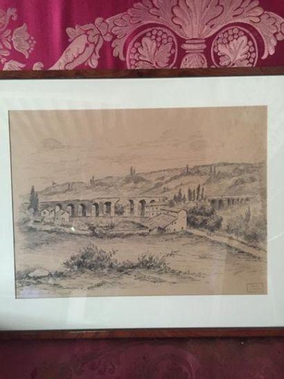 Bergeron ? Paysage à l'aqueduc romain