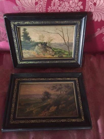 Ecole française XIXème, deux paysages en...