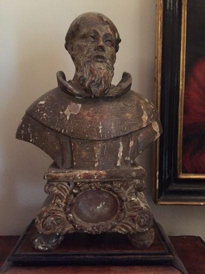 Buste reliquaire, moine en bois sculpté laqué...