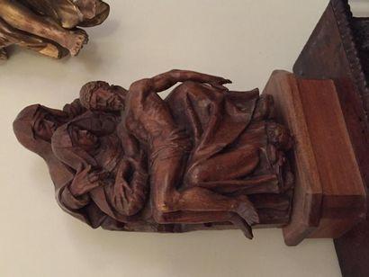 Grande pietà trinitaire en bois sculpté,...