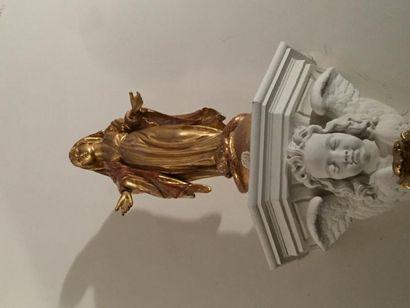 Vierge écrasant le serpent, bois sculpté,...