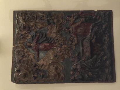 Panneau en chêne sculpté et polychromé représentant...